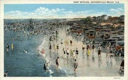 Surf Bathing - Jacksonville, Florida FL Postcard