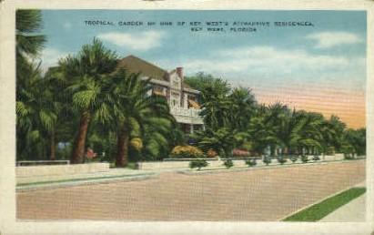 Tropical Garden - Key West, Florida FL Postcard