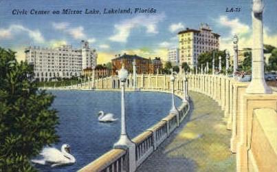 Mirror Lake - Lakeland, Florida FL Postcard