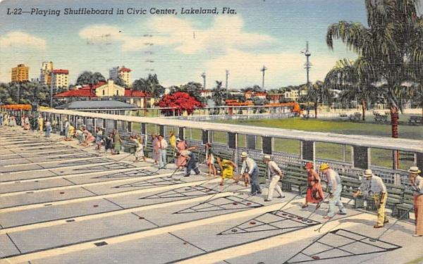 Playing Shuffleboard in Civic Center Lakeland, Florida Postcard
