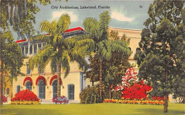 City Auditorium  Lakeland, Florida Postcard