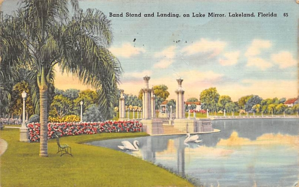 Band Stand and Landing on Lake Mirror Lakeland, Florida Postcard