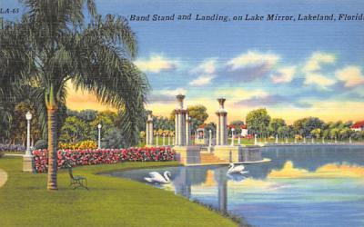 Band Stand and Landing, on Lake Mirror Lakeland, Florida Postcard
