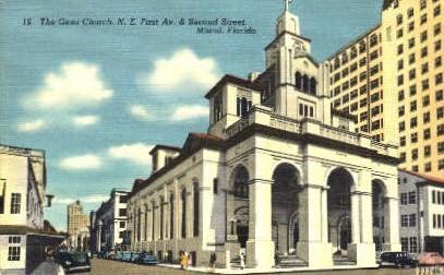 Gesu Church - Miami, Florida FL Postcard