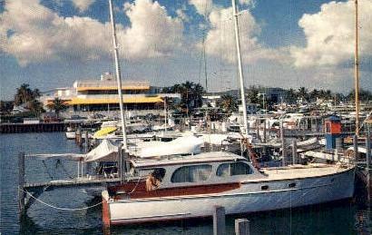 Dinner Key Marina - Miami, Florida FL Postcard