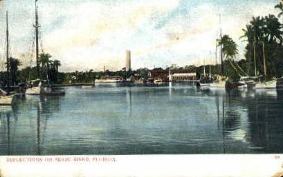 Miami River - Florida FL Postcard