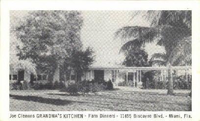 Joe Clemons Grandma's Kitchen - Miami, Florida FL Postcard
