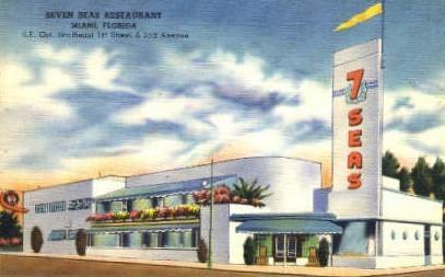 Seven Seas Restaurant - Miami, Florida FL Postcard