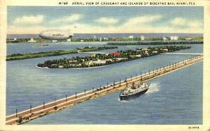 Biscayne Bay - Miami, Florida FL Postcard
