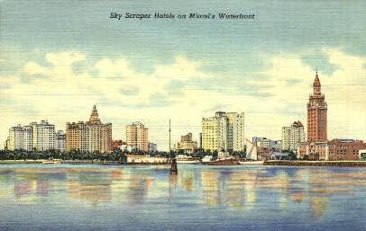 Sky Scraper Hotels - Miami, Florida FL Postcard