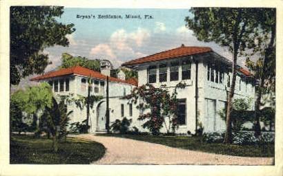 Bryan's Residence - Miami, Florida FL Postcard