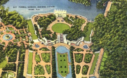 Formal Garden - Miami, Florida FL Postcard