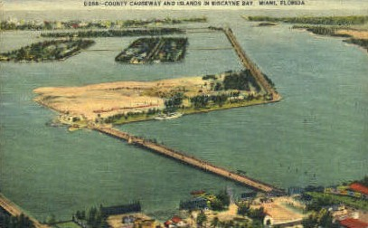 Causeway - Miami, Florida FL Postcard