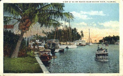 Bedge Dock - Miami, Florida FL Postcard