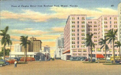 Flagler Street - Miami, Florida FL Postcard