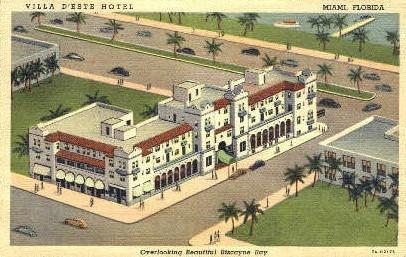 D'Este Hotel - Miami, Florida FL Postcard