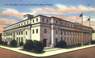 Post Office - Miami, Florida FL Postcard