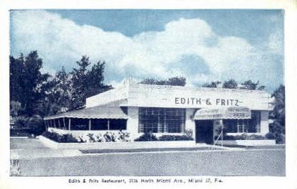 Edith & Fritz Restaurant - Miami, Florida FL Postcard