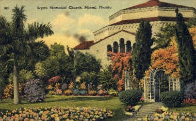 Bryan Memorial Church - Miami, Florida FL Postcard