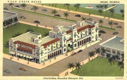 Villa D'este Hotel - Miami, Florida FL Postcard
