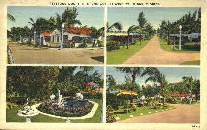 Keystone Court - Miami, Florida FL Postcard