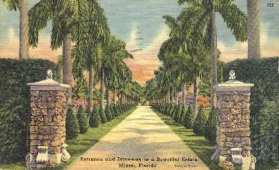 Estate Driveway - Miami, Florida FL Postcard
