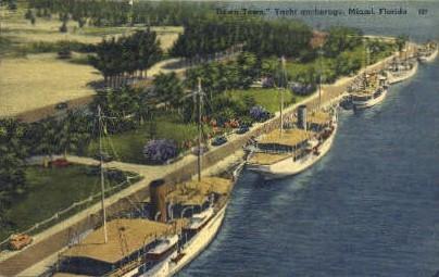 Yacht Basin - Miami, Florida FL Postcard
