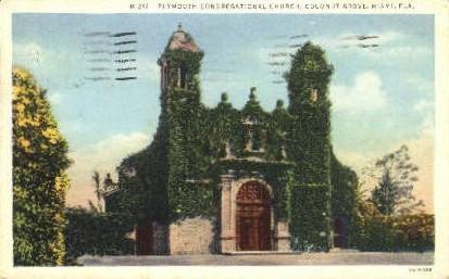 Plymouth Congregational Church - Miami, Florida FL Postcard