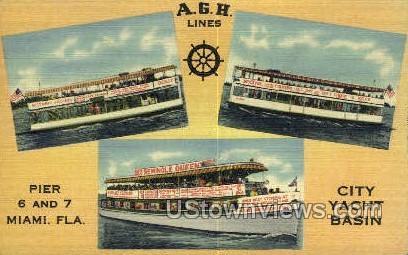 A.G.H. Lines - Miami, Florida FL Postcard
