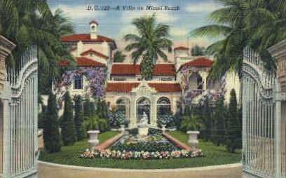 Spanish Villa - Miami Beach, Florida FL Postcard