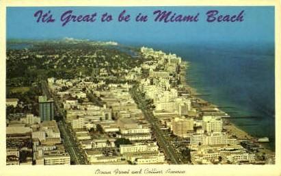 Ocean Front - Miami Beach, Florida FL Postcard