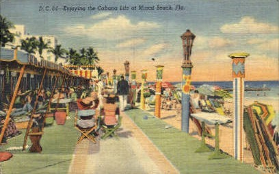 Cabana Life - Miami Beach, Florida FL Postcard