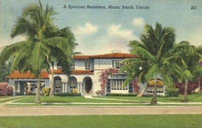 Spacious Residence - Miami Beach, Florida FL Postcard