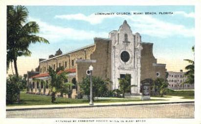Community Church - Miami Beach, Florida FL Postcard