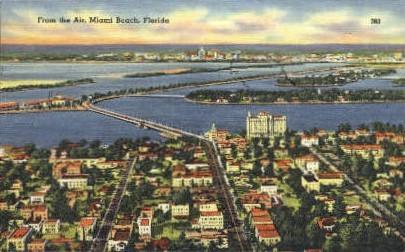 Causeway - Miami Beach, Florida FL Postcard