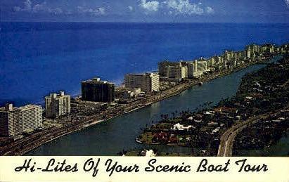Scenic Boat Town - Miami Beach, Florida FL Postcard