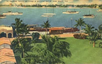 Palatial Yachts - Miami Beach, Florida FL Postcard