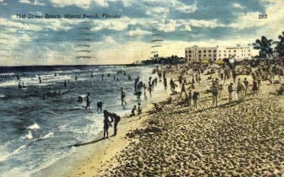 71st Street Beach - Miami Beach, Florida FL Postcard