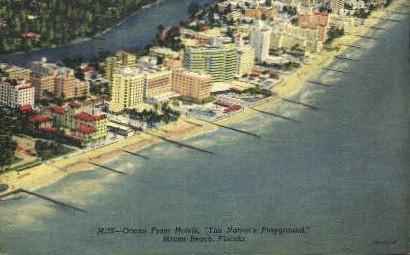 Ocean Front Hotels - Miami Beach, Florida FL Postcard