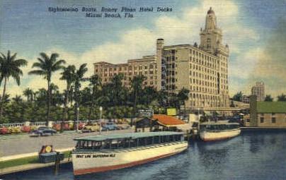 Sightseeing Boat - Miami Beach, Florida FL Postcard