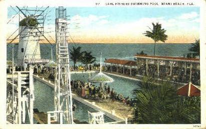 Carl Fishers Swimming Pool - Miami Beach, Florida FL Postcard
