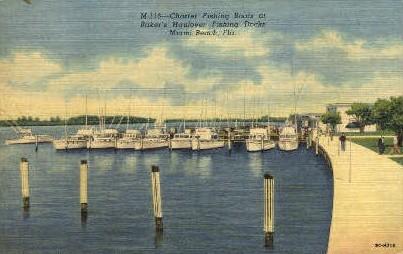 Charter Fishing Boats - Miami Beach, Florida FL Postcard