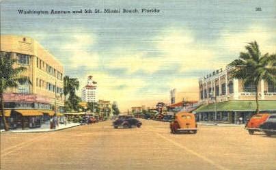 Washington Avenue - Miami Beach, Florida FL Postcard