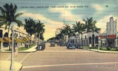 Lennox Avenue - Miami Beach, Florida FL Postcard