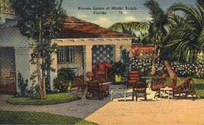 Private Estate - Miami Beach, Florida FL Postcard