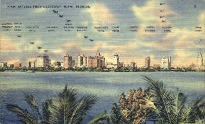 Skyline - Miami Beach, Florida FL Postcard