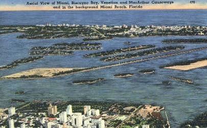 Biscayne Bay - Miami Beach, Florida FL Postcard