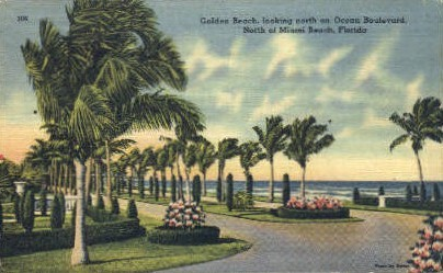 Golden Beach - Miami Beach, Florida FL Postcard