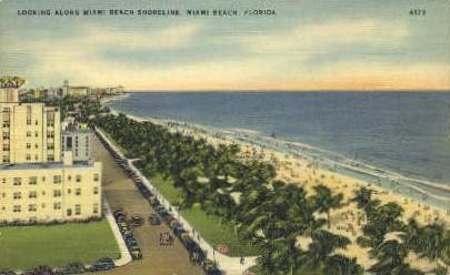 Shoreline - Miami Beach, Florida FL Postcard