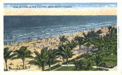 Surf Bathing - Miami Beach, Florida FL Postcard